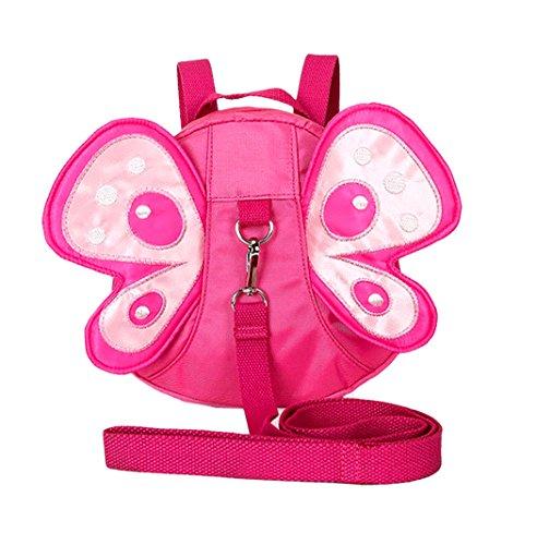 Xiaoyu Baby Schmetterling mit Flügeln gehen Sicherheitsgurte Zügel Kleinkind Kind Kinder Rucksack Tasche, Rose (Kleinkind Schmetterlings Flügeln)