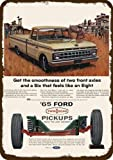 Laptopo 1965 Ford F100 Pickup Truck Vintage Look Replica Metal Sign - Cowboy & Cowgirl