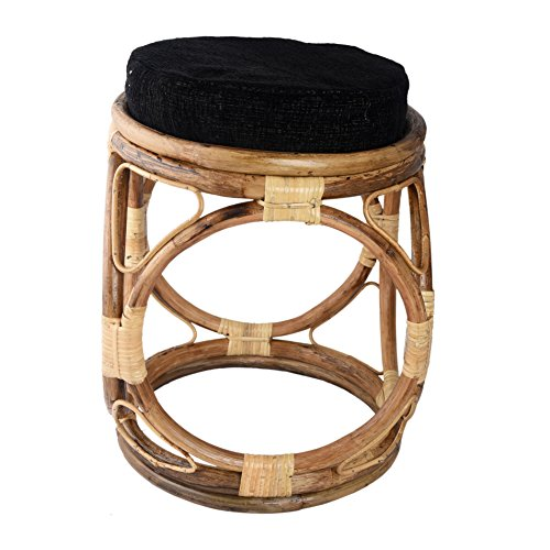 Cane Designer Wooden Stool with Cushion ,Brown