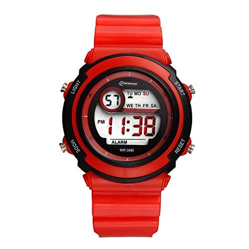 54324b617c7e Deportivo LED Luminoso Alarma Digital Impermeable Correa de PVC Cuarzo Relojes  Juveniles Relojes Para Niños