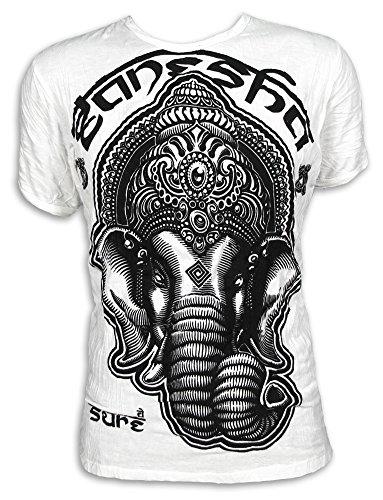 Sure Herren T-Shirt Tribal Ganesha Heiliger Elefanten-Gott Indien Ethno Hinduismus Hippie (Weiss L)