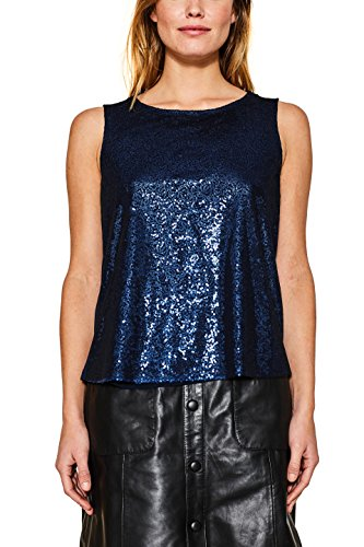 ESPRIT Damen Bluse 117EE1F032, Mehrfarbig (Bright Blue 410), 42