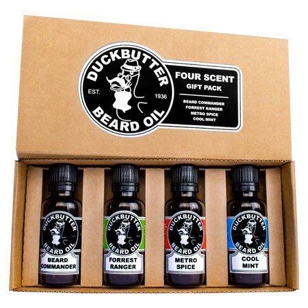 DUCKBUTTER Bartöl von DuckButter - Reines Naturprodukt - Geschenkset mit 4 Flakons - Spitzenangebot! | Beard Oil 4 Pack