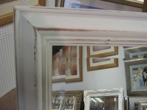SHAPED WHITE DISTRESSSED SHABBY CHIC STYLE SOLID PINE WALL AND OVERMANTLE MIRRORS - VARIOUS SIZES AVAILABLE (Bevel Mirror Glass, 52