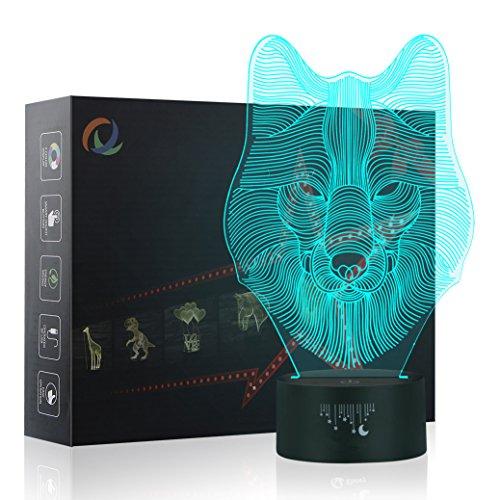 Wolf 3D Lampe Optische LED Täuschung Nachtlicht,Yunplus 7 Farbwech mit Acryl Flat & ABS Base & USB-Ladegerät ändern Berühren Sie Botton Schreibtisch lampe Tischleuchte (Wolf-2) - Base-dekorative Licht-lampe