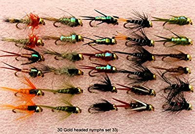 Trout Fly Fishing Flies 30 GOLD HEADED NYMPHS SET 33J from BryTec
