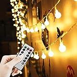 LED Lichterkette Außen Batterie 5M/16FT 50 Glühbirnen - Wasserdichte Outdoor Lichterkette für Party/Garten / Weihnachten/Terrasse - 8 Modi Fernbedienung Kontroller