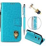 iAdvantec Sony Xperia XZ2 Compact Hülle Case, Filp PU Leder Wallet Handyhülle Flipcase : Bookstyle Vintage Eule Tasche Brieftasche Schutzhülle in Blau + Anti Staub Stöpsel + Stylus