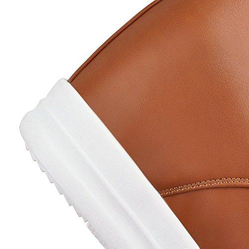 VogueZone009 Damen Hoher Absatz Rivet Set Rund Zehe Mikrofaser Reißverschluss Stiefel Braun