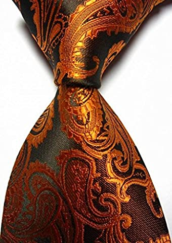 Unique Black Paisley Luxury JACQUARD Mens Tie Necktie Wedding Holiday Gift, Brown, one size