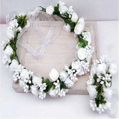 PROKTH Blumenkranz Einstellbar Haare Blumen Haarschmuck Blumenstirnband und Floral Handgelenk Band für Blumenmädchen Mädchen Brautjungfer