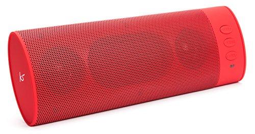KitSound BoomBar Universal Tragbares Aufladbares Stereo Bluetooth Wireless Soundsystem Kompatibel mit Apple iOS und Android Smartphones, Tablets und MP3 Geräten - Rot Universal Bluetooth Stereo