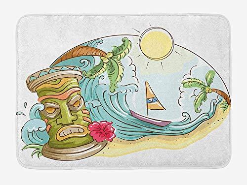 Bamboo Beach Tiki Bar (ARTOPB Tiki Bar Bath Mat, Circular Frame with Tropical Accents Cartoon Beach Tiki Statue Illustration Print, Plush Bathroom Decor Mat with Non Slip Backing, 23.6 W X 15.7 W Inches, Multicolor)