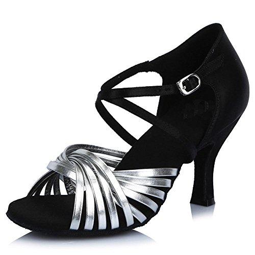 YFF Donna raso salsa latino Tango festa da ballo scarpe fondo morbido AF44605