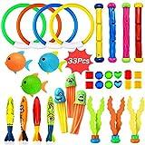 Dulabei 33 Stücke Tauchspielzeug Tauchen Spielzeug Tauchring,Schwimmbad Spielzeug Unterwasser Tauch...