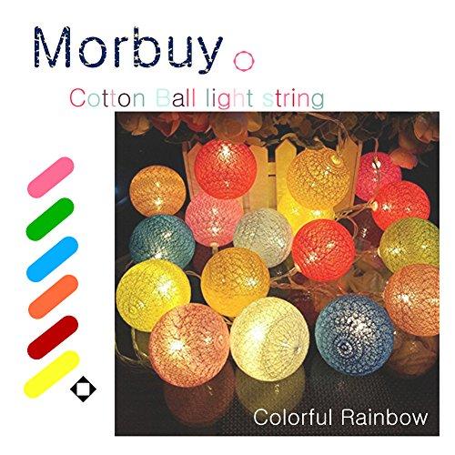 Morbuy Led Lichterkette, Kugel Lichterkette 6Cm Baumwoll Kugel Batterie Led Lichterkette Festlich Hochzeiten Geburtstag Partei 10 Baumwollkugeln 1,8M (1,8M / 10 Lichter, Bunter Regenbogen) -