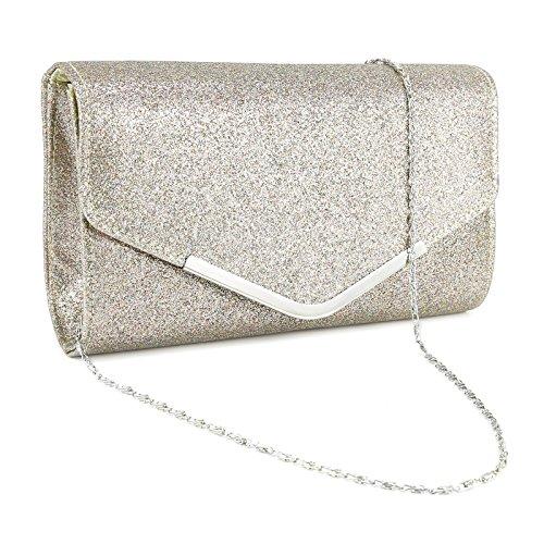 Elegant Clutch Tasche Handtasche umklappende Dekel Abendtasche Hochzeit Party?3 Farbe melierend lila