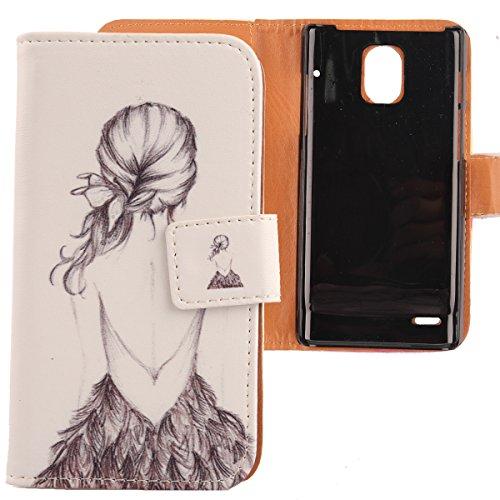 Lankashi PU Flip Leder Tasche Hülle Case Cover Schutz Handy Etui Skin Für Huawei Ascend P1 U9200 Back Girl Design