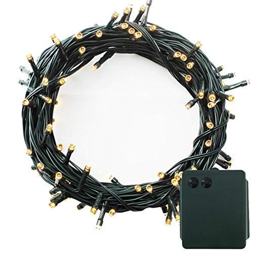 100-500 LED Batterie Lichterkette Kette Batteriebetrieben 8 Modi und Timer Leuchte Dekoratives Beleuchtung Grünes Kabel für Weihnachtsbaum, Garten, Party Innen und Außen (Warmweiß, 300LEDs)