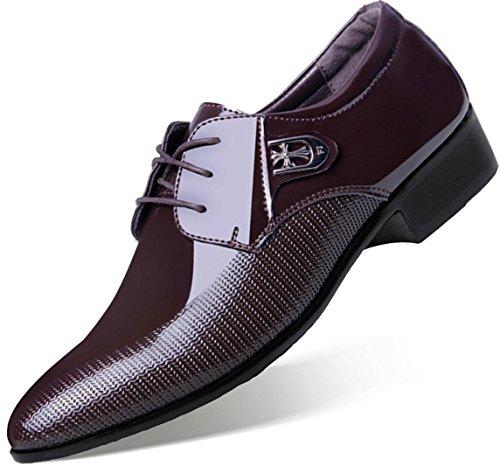 neue Männer Geschäfts-beiläufige lederne Schuhe spitzte Spitze- / Hochzeits-Schuh-große Größen-Kleid-Schuhe Dark Brown