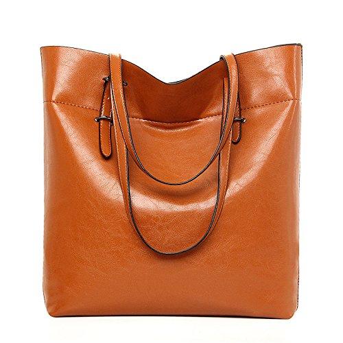 Mefly Borse donna grande capacità singola Pelle spalla vera pelle borsa denaro verticale Nero Light brown