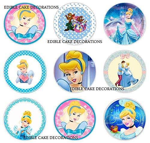 Cinderella Disney Princess Celebration Essbare Papier-Cupcake-Topper, Kuchendekoration, Geburtstag, 24 Stück
