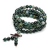 QGEM Schmuck Healing 108 Perlen Buddha-Armband Buddhistische Tibetische Gebetskette Edelstein Yoga Buddha Mala Kette Halskette/Sodalite (6mm-Moos Achat)