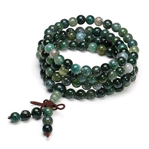 QGEM Schmuck Healing 108 Perlen Buddha-Armband Buddhistische Tibetische Gebetskette Edelstein Yoga Buddha Mala Kette Halskette/Sodalite (6mm-Moos Achat) (Halskette Moos-achat)