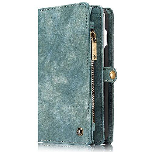 Apple iPhone 8 Plus Case Hülle Geldbörse mit Kredit Kartenfächer [Geldscheinfach mit Reißverschluss] Premium mit abnehmbaren Magnet Handy Schutzhülle, Zubehör Magnete