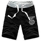 Moda Hombre de algodón Pantalones Cortos Gimnasio Sport Jogging Pantalones (Negro, L)