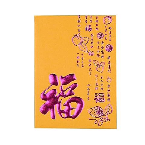 Art de beauté haute qualité Nouvel An chinois Art Paper Monnaie enveloppes bénédiction Rouge l'argent des paquets Lot de 38pcs Jaune (11cmx8cm)