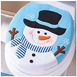 Bluester Toilet Seat Covers Christmas Decoration Christmas Snowman Lid Single Toilet Cover