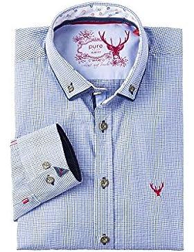 Pure Herren Trachtenhemd Langarm Blau Karo-Rot Slimfit 112541
