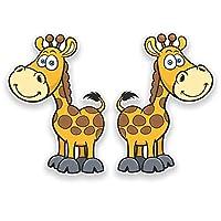 2 x 10cm Happy Giraffe Vinyl Sticker Laptop Car Kids Skate Animal Farm Fun #9251