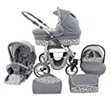 Chilly Kids Dino 3 in 1 Kinderwagen Set (Autosit & Adapter, Regenschutz, Moskitonetz, Schwenkräder) 33 Graphit & Snow Leopard