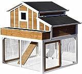 dobar 23033FSC Großer dekorativer Hühnerstall oder Kleintierstall XL mit Freigehege , Pflanzkasten und Legebox, 126 x 128 x 143 cm, weiß-braun-schwarz