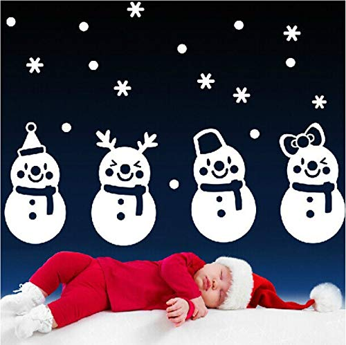 Wuyyii Happy Holiday White Winter Weihnachten Schneemann Schneeflocke Decals Frohe Weihnachten Holiday Home Fenster Dekor Wandaufkleber Diy