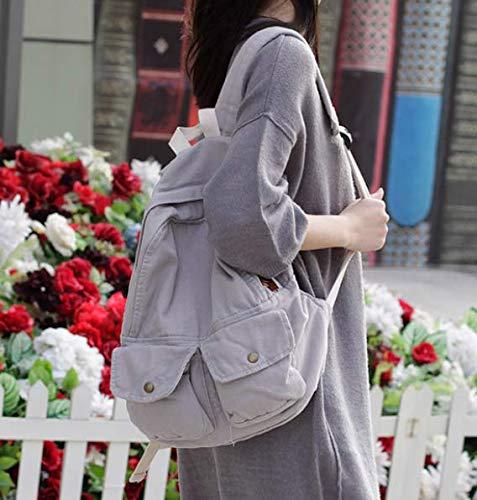 Fsweeth Frische kleine Double Shoulder Bag Female einfache Kunst Harajuku Wind 2-Pocket Jeans travel College Studenten, 31 * 36 * 12 cm, Hellgrau kleine Taschen. -
