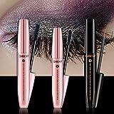 4D Mascara Kit + Wimpernserum Set Wimperntusche mit Fiber Set Wimpernwachstum Augenbrauenserum Wimpern Booster Wimpernverlängerung Wasserdicht schwarzer Länger Dicker Wimpern