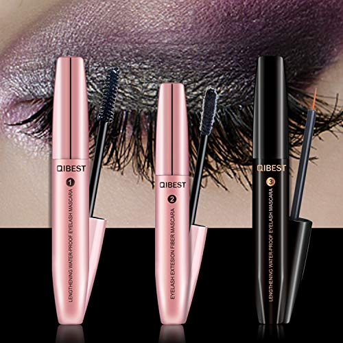 Booster Mascara (4D Mascara Kit + Wimpernserum Set Wimperntusche mit Fiber Set Wimpernwachstum Augenbrauenserum Wimpern Booster Wimpernverlängerung Wasserdicht schwarzer Länger Dicker Wimpern)