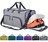 CoCoMall Foldable Sports Gym Bag with Shoes Compartment & Wet Pocket, Lightweight Travel