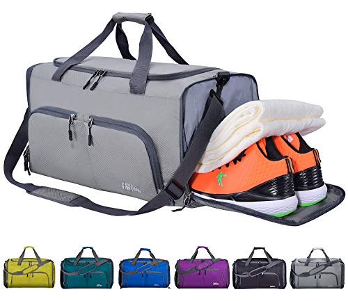 CoCoMall Foldable Sports Gym Bag with Shoes Compartment & Wet Pocket, Lightweight Travel Duffel Bag (Grey)