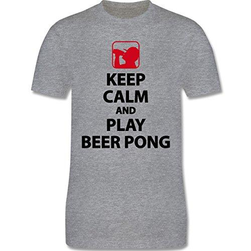 Festival - Keep Calm And Play Beer Pong - Herren Premium T-Shirt Grau Meliert