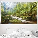 ABAKUHAUS Bosco Tappeto da Parete e Copriletto, Foresta a Golitha Falls, più Tecnologia Moderna Digitale, 230 x 140 cm, Verde Marrone