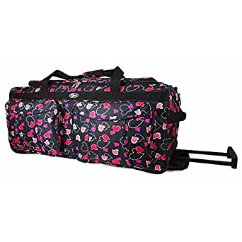 "Womens Girls Hearts Hand Luggage Maternity Gym Wheeled Travel Bag (Grey/Pink/Purple/White) (18"", 20"", 26"", 30"") (20"", Black Hearts)"