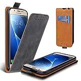 Lelogo Galaxy J5 2016 Hülle, Leder Tasche für Samsung Galaxy J5 (2016) Handyhülle Flip Case Schutzhülle (Schwarz)
