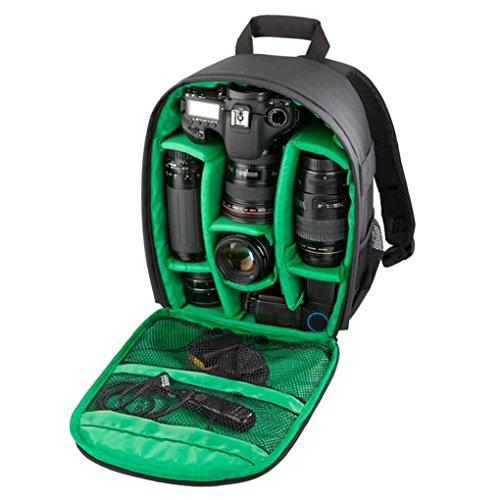 QHGstore Caso zaino multifunzionale sacchetto impermeabile DSLR per Nikon Canon nero + verde