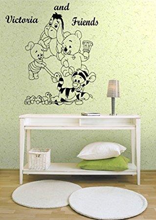 Preisvergleich Produktbild Winnie Puuh und Freunde Ferkel, I-Aah, Tigger, als Sie Babys personalisiert Wandtattoo für Kind Schlafzimmer, Kinderzimmer Wandtattoo Aufkleber. schwarz
