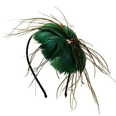Serre tête femme noir vert émeraude plumes vertes filaments paon strass blanc