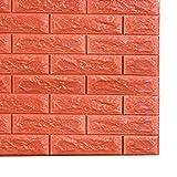 Godagoda 3D Ziegel Tapete Wandaufkleber Selbstklebend Stereo Wandtattoo Papier für Schlafzimmer Kinderzimmer TV Hintergrund 60x30cm Orange